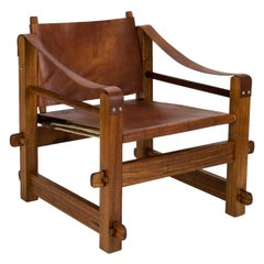 1960s Brutalist Safari Chair in Teak and Leather