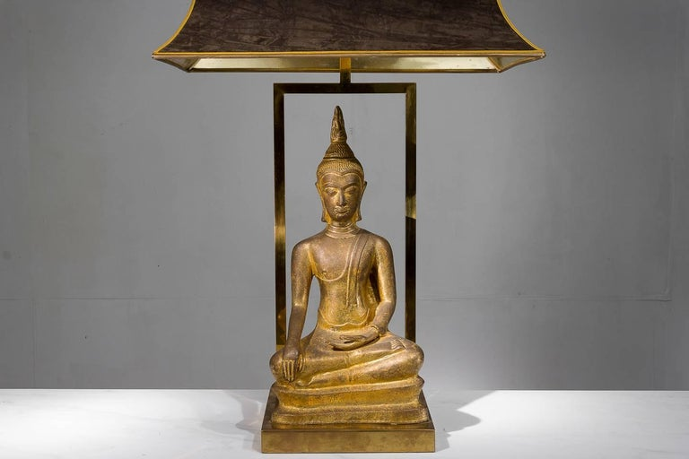 Good size and quality 1960s, French, gilt brass Buddha lamp with original shade.