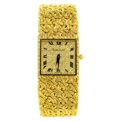 1960s Bueche Girod Woven Florentine Finish 18 Karat Yellow Gold Men's Wristwatch