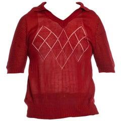 1960S Burgundy Acrylic Knit Sheer Pull Over Polo Shirt