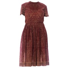 1960S Burgundy & Brown Poly Blend Lace Printed Dress