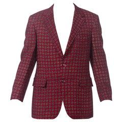1960S Burgundy Wool Men's Paisley Foulard Printed Blazer