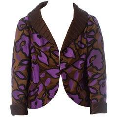 1960S BURKE AMEY Black & Purple Silk Brocade Cocktail Jacket
