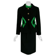 1960's Burke-Amey Couture Black Wool & Green Silk Applique Dress Suit Ensemble