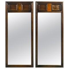 1960s Burlwood Style Wall Mirrors, Pair