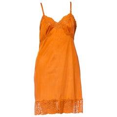 1960S Burnt Orange Nylon Tricot Jersey Lace Trimmed Slip Dress