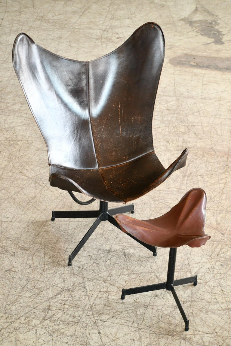 American 1960s Butterfly Sling Chair and Ottoman in Saddle Leather by William Katavolos For Sale