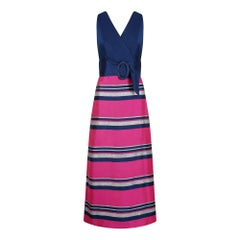 1960s By Roter Navy Blue Pink and Silver Banded Dress