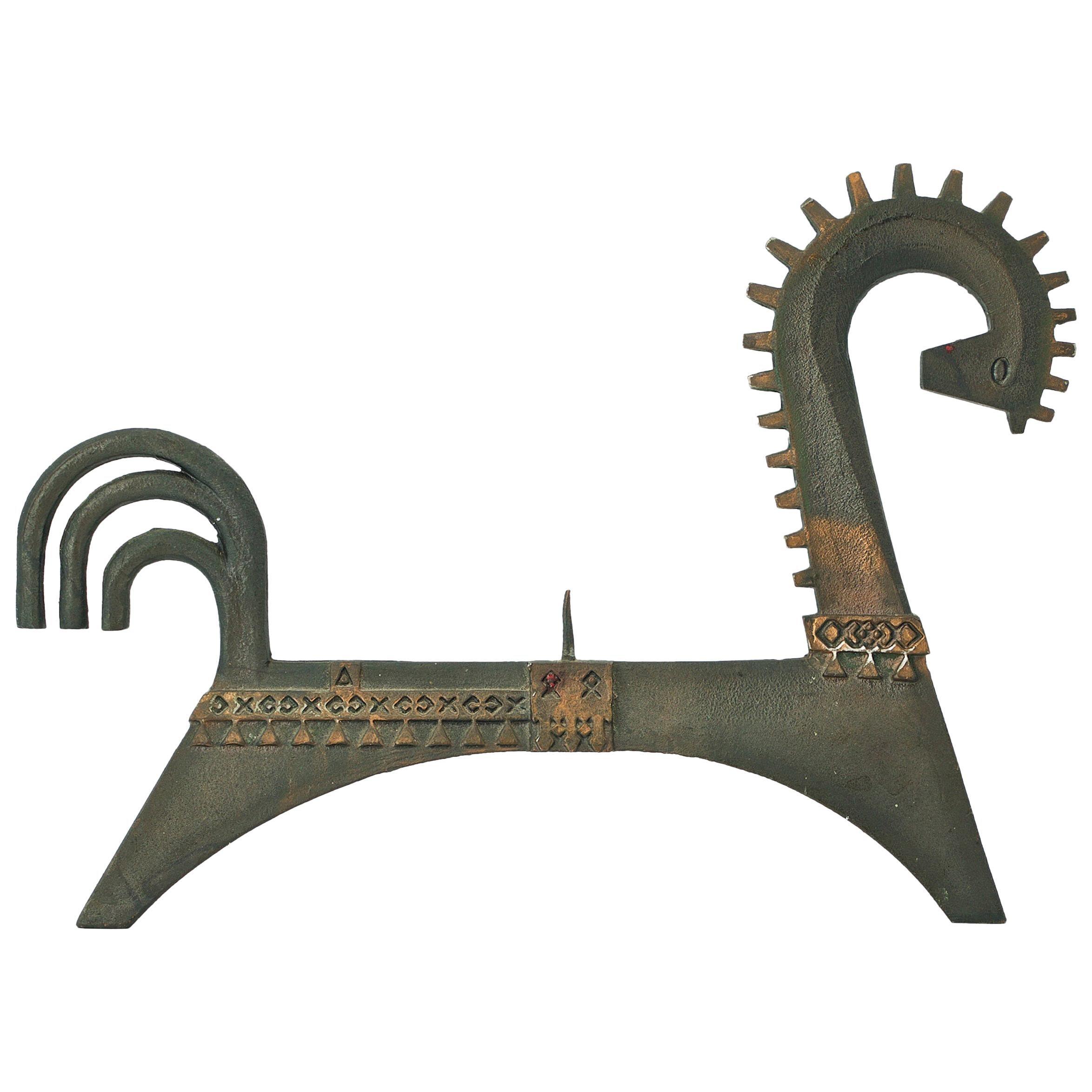 1960s Byzantine Cast Iron Bronze Washed Horse Sculpture Candelabra Midcentury