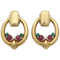1960s Cabochon Ruby, Emerald and Diamond Hand Hammered Gold Doorknocker Earclips