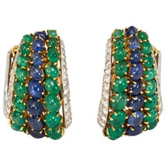 1960s Cabochon Sapphire and Emerald Hoop Style Earrings with Diamond-Set Edges