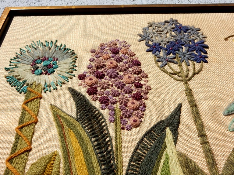 Sensational piece of crewelwork embroidery wall art, circa 1960s.