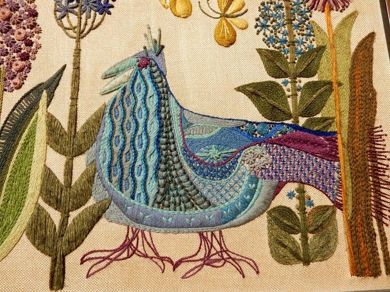 Mid-Century Modern 1960s California Modernist Crewelwork Embroidery Art
