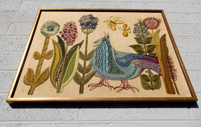 1960s California Modernist Crewelwork Embroidery Art In Good Condition In Las Vegas, NV