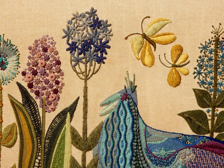 1960s California Modernist Crewelwork Embroidery Art 1