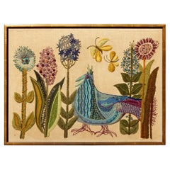 1960s California Modernist Crewelwork Embroidery Art