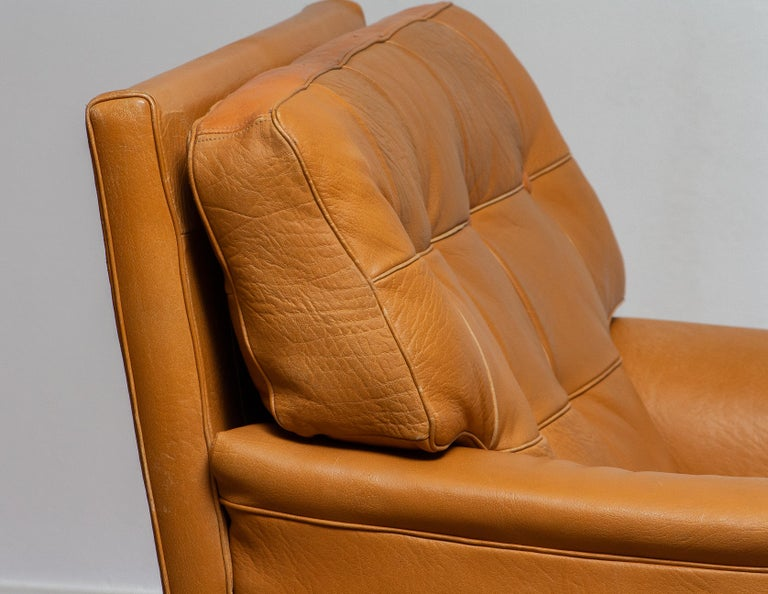 Mid-20th Century 1960s Camel Quilted Buffalo Leather