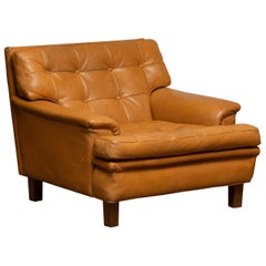 "1960s Camel Quilted Buffalo Leather ""Merkur"" Chair by Arne Norell A.B. Sweden"