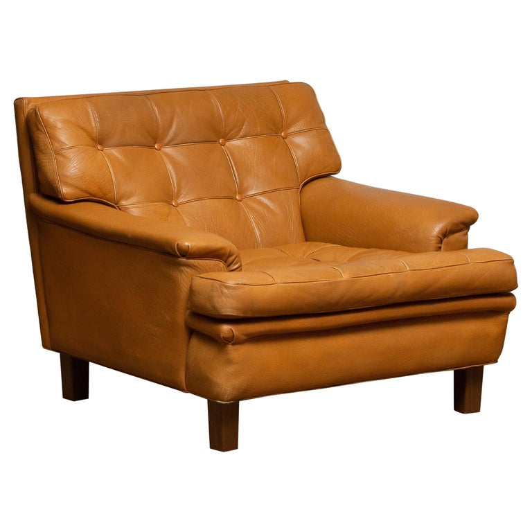 """1960s Camel Quilted Buffalo Leather """"Merkur"""" Chair by Arne Norell A.B., Sweden"""