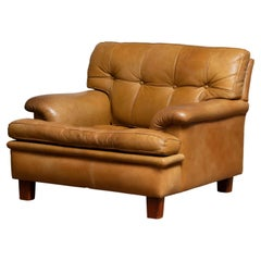 """1960's Camel Quilted Buffalo Leather """"Merkur"""" Chair by Arne Norell A.B., Sweden"""