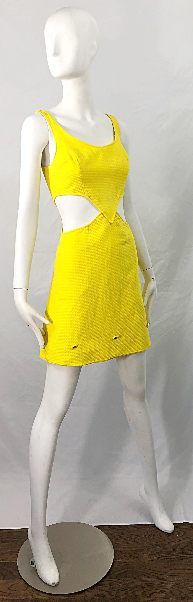 1960s Canary Yellow Cut - Out Honeycomb Cotton Vintage 60s A Line Dress For Sale 6