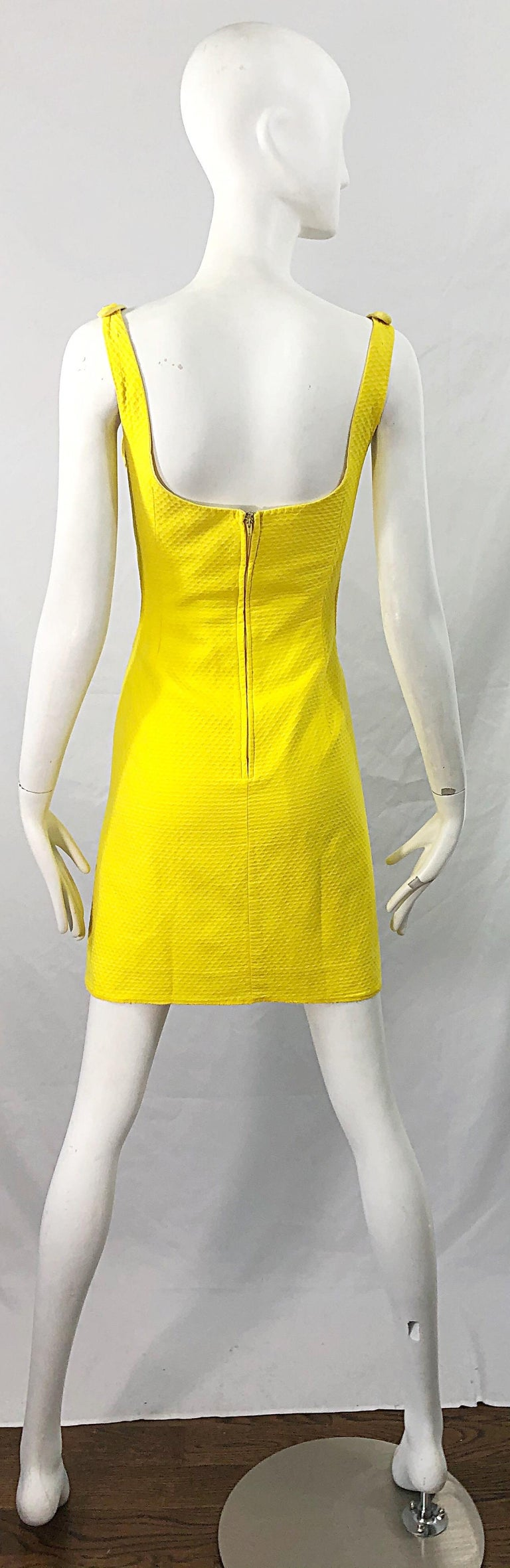 1960s Canary Yellow Cut - Out Honeycomb Cotton Vintage 60s A Line Dress For Sale 5