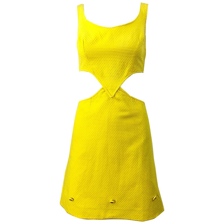 1960s Canary Yellow Cut - Out Honeycomb Cotton Vintage 60s A Line Dress For Sale