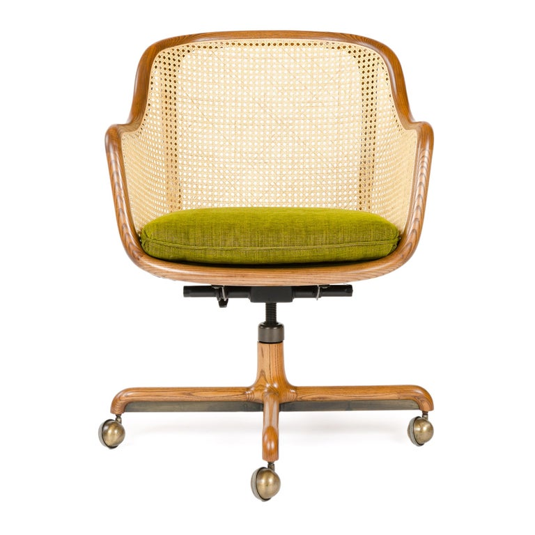 Mid-Century Modern 1960s Caned Low Back Swiveling Desk Chair by Ward Bennett for Brickel Associates For Sale