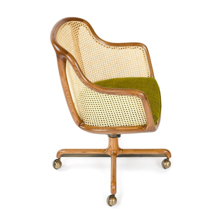 American 1960s Caned Low Back Swiveling Desk Chair by Ward Bennett for Brickel Associates For Sale