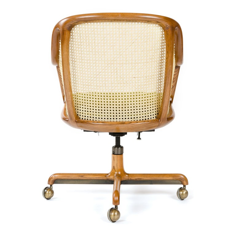 Upholstery 1960s Caned Low Back Swiveling Desk Chair by Ward Bennett for Brickel Associates For Sale