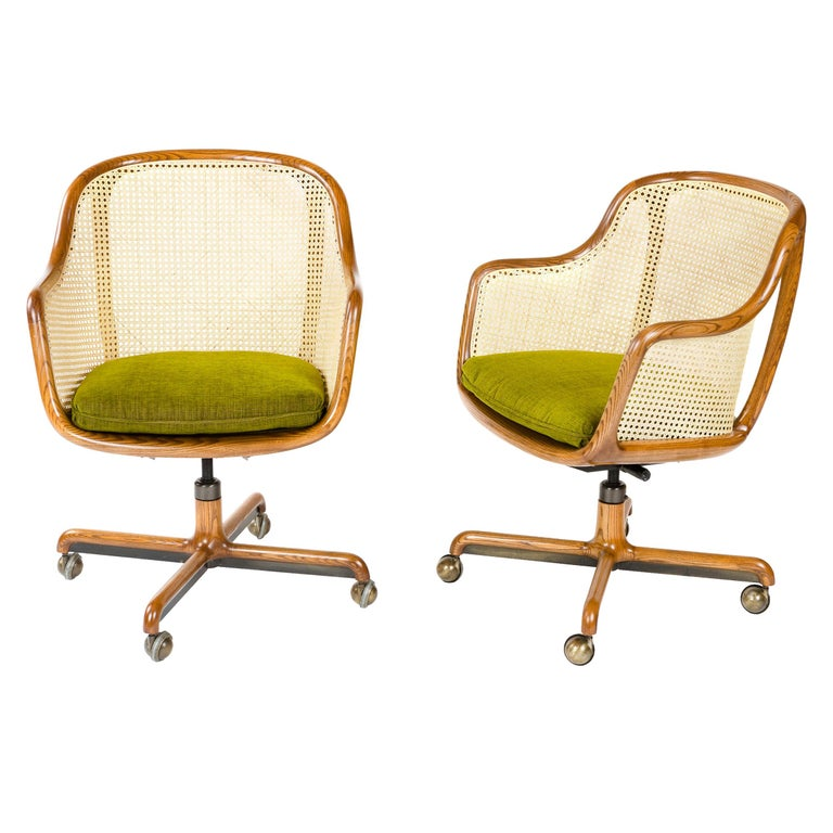 1960s Caned Low Back Swiveling Desk Chair by Ward Bennett for Brickel Associates For Sale