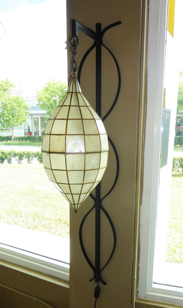 1960s Capiz Shell Teardrop and Wrought Iron Wall Light Sconce For Sale 3