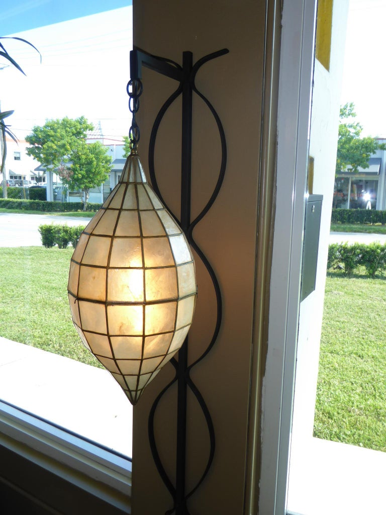 1960s Capiz Shell Teardrop and Wrought Iron Wall Light Sconce For Sale 4