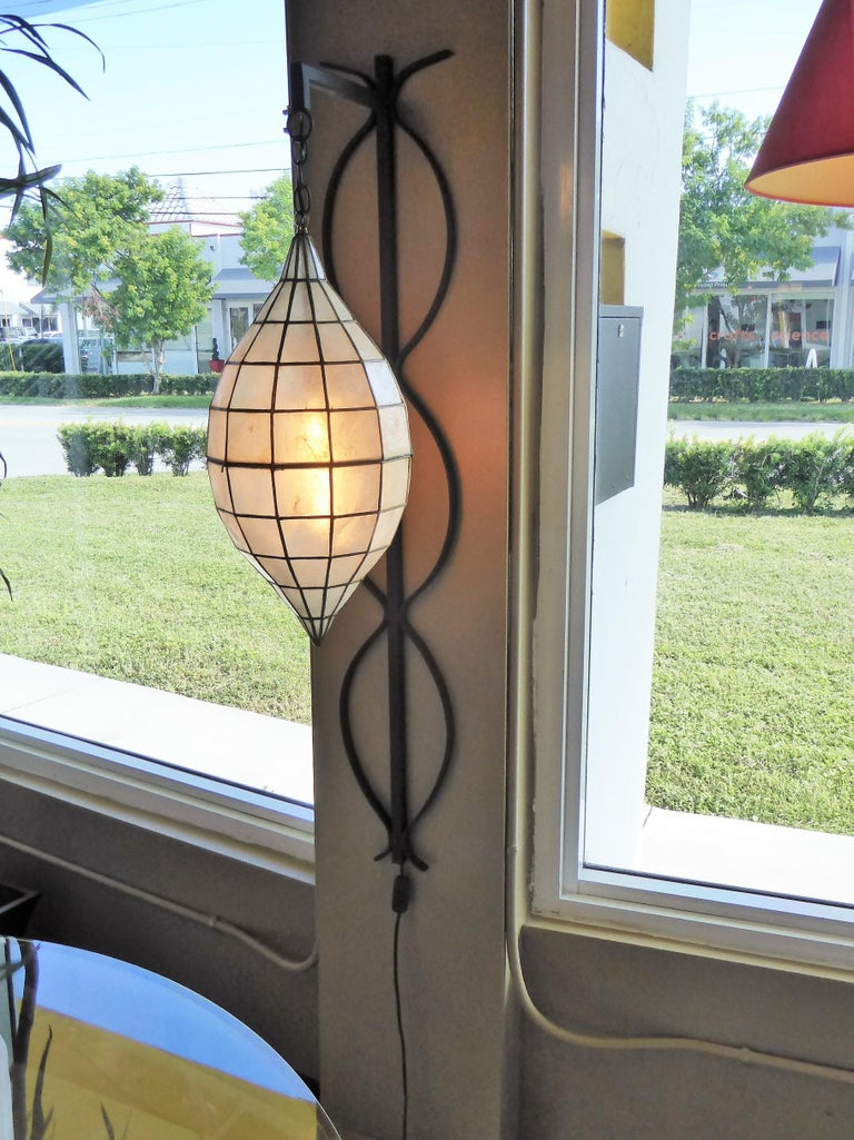 1960s Capiz Shell Teardrop and Wrought Iron Wall Light Sconce For Sale 5