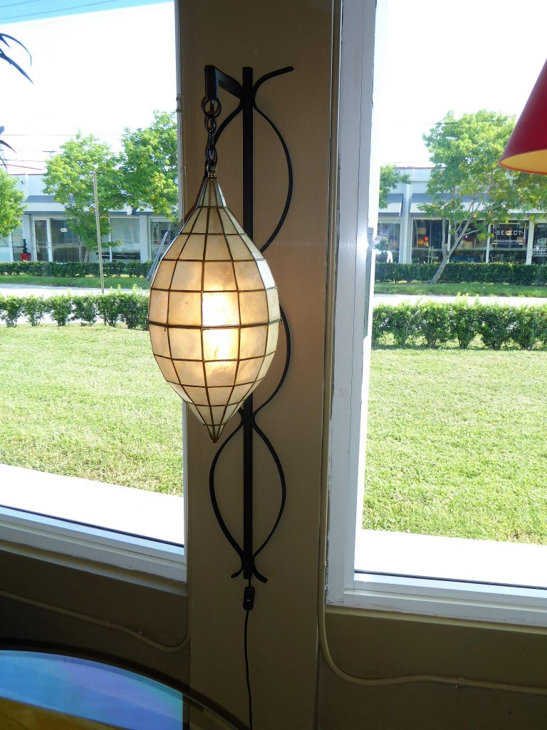 1960s Capiz Shell Teardrop and Wrought Iron Wall Light Sconce For Sale 6