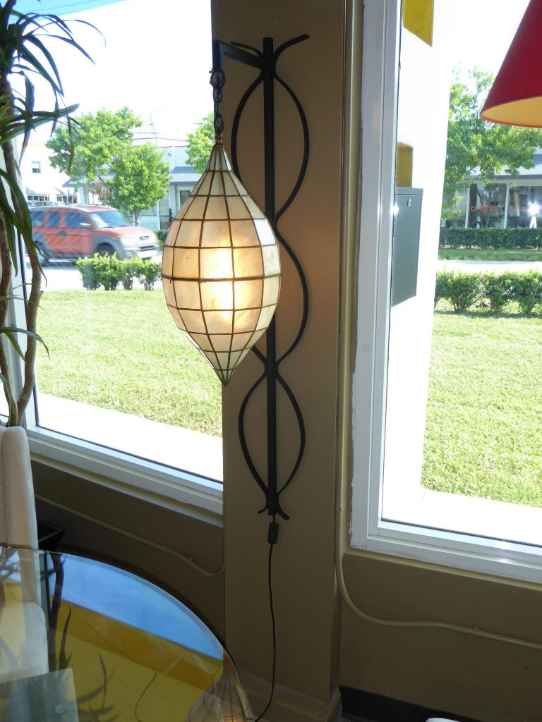 1960s Capiz Shell Teardrop and Wrought Iron Wall Light Sconce For Sale 7