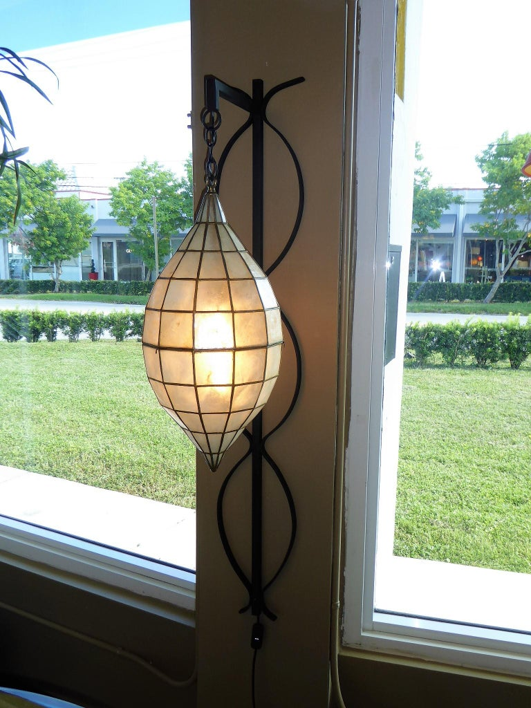 Unknown 1960s Capiz Shell Teardrop and Wrought Iron Wall Light Sconce For Sale