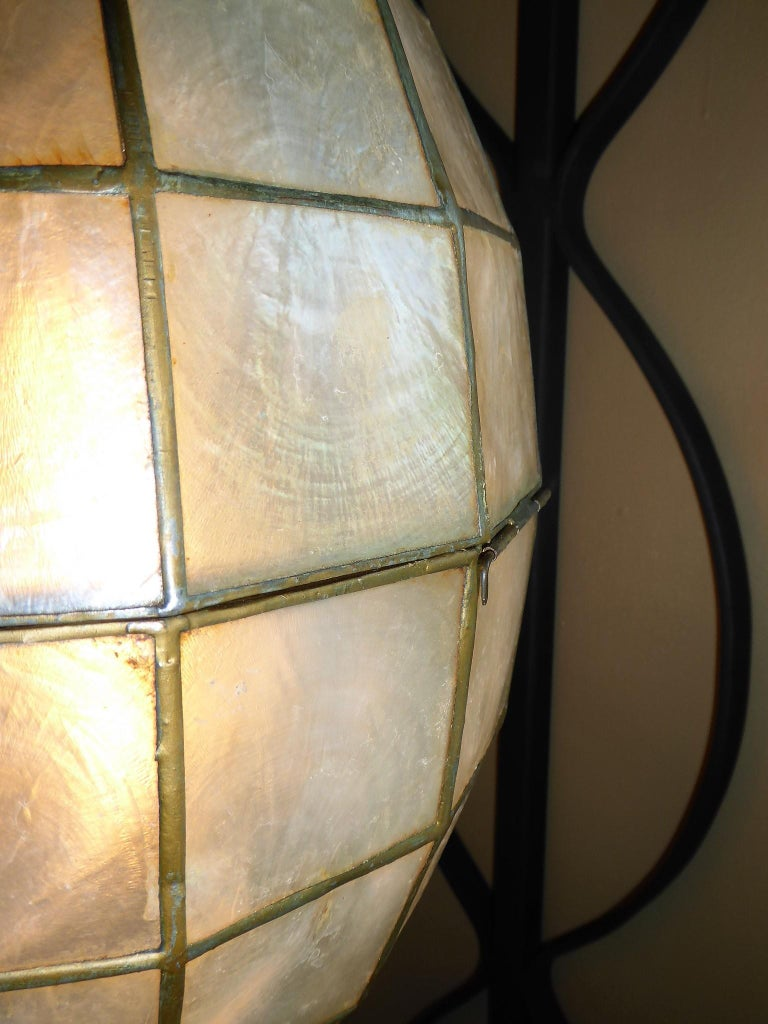 1960s Capiz Shell Teardrop and Wrought Iron Wall Light Sconce For Sale 2