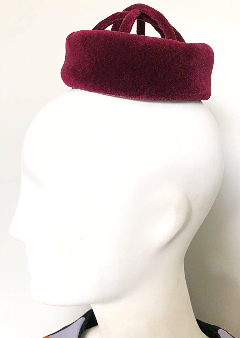 dd7b77cf560 Incredible original sample CARDINALI late 1960s vintage burgundy velvet  cage hat! This rare beauty comes