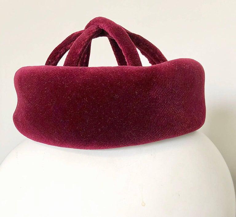 9a1c0689810 Women s 1960s Cardinali Original Sample Burgundy Maroon Avant Garde Velvet  60s Cage Hat For Sale