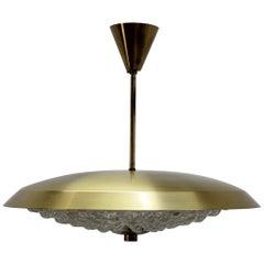 1960s Carl Fagerlund for Orrefors Glass/Brass Pendant Lamp