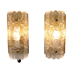 1960s Carl Fagerlund for Orrefors Glass Wall Sconces, Set of 2