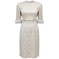 1960s Carol Brent Jackie Kennedy Style Ivory Brocade Dress Suit