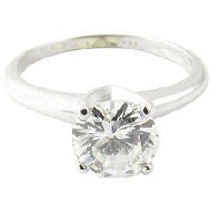 1960s Cartier 14 Karat White Gold Solitaire Diamond Engagement Ring 1.08 Carat