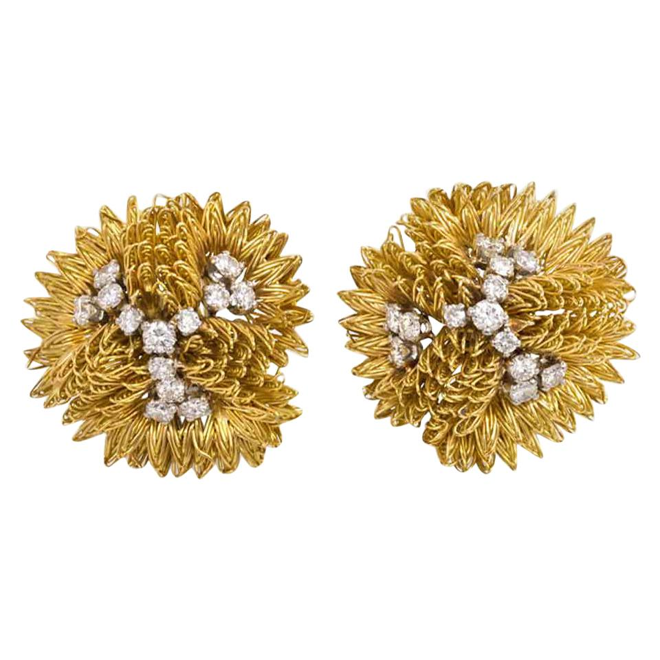 Cartier 1960s Gold Wirework and Diamond Clip Earrings