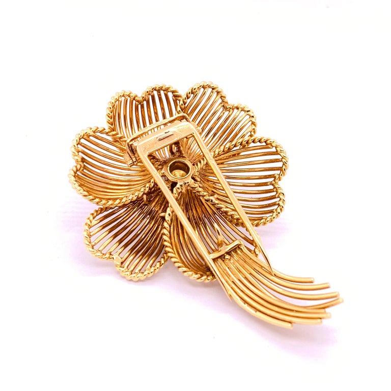 Women's 1960s Cartier Diamond Gold Flower Brooch For Sale