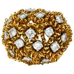 1960s Cartier France 2.50 Carat Diamond 18 Karat Gold Floral Bouquet Ring