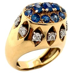 1960's Cartier France Diamond and Sapphire Ring