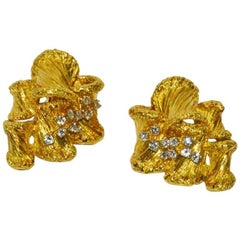 1960s Cartier Gold and Diamond Ear Clips