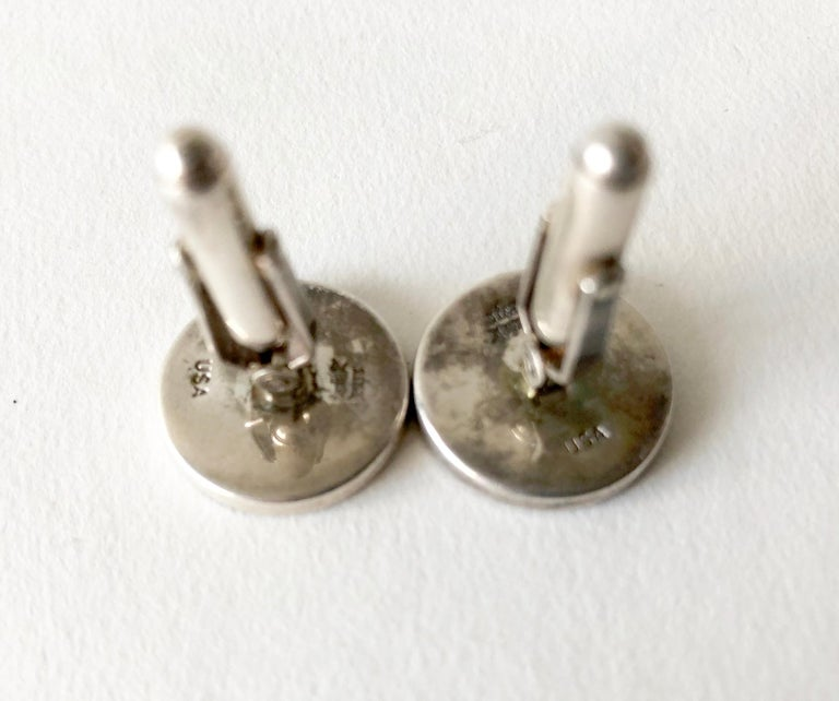 Modernist 1960s Cecilia Sterling Silver Mother of Pearl Playing Card Suit Cufflinks For Sale